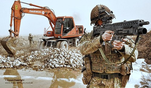 Soldier Keeps Watch During Construction of Route Trident in Helmand, Afghanistan