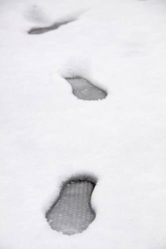 Footprints in Colliers Wood snow