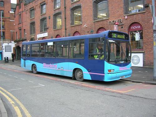 Dennis Dart, R1 BLU, Marshall body, Stevenson Square, Manchester