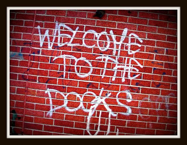 """Welcome to the docks"" graffiti in Grangetown"