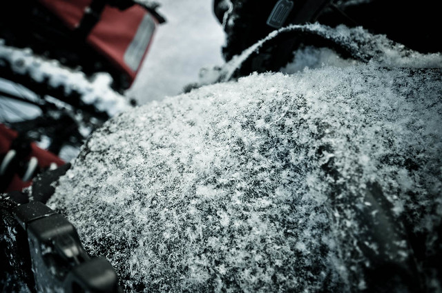 Fresh snow on pannier