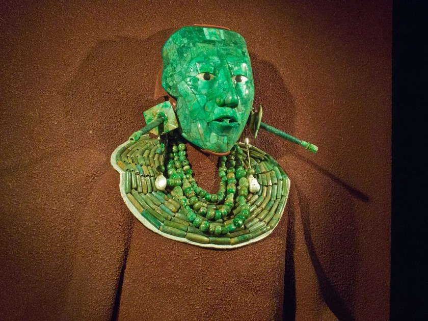 Face mask of Pacal, ruler of Palenque, 615 - 683AD, in Anthropological Museum, Mexico City