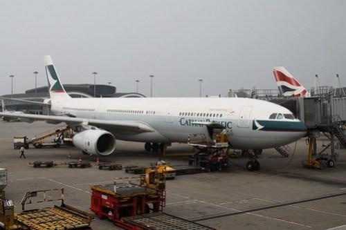 Cathay Pacific A330 B-LAH on arrival at Hong Kong