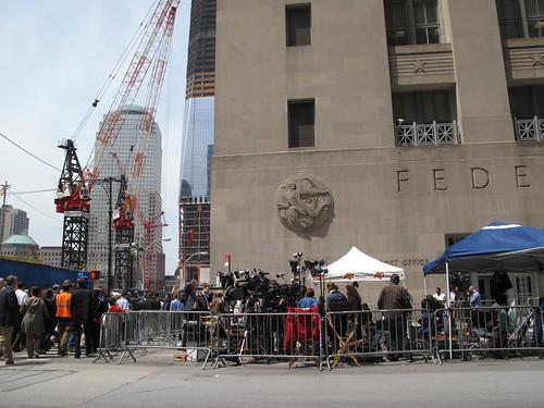 Ground Zero 1.5 days after announcement of Bin Laden's death: media frenzy