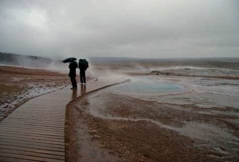 It's windy and wet at Geysir, Iceland copy