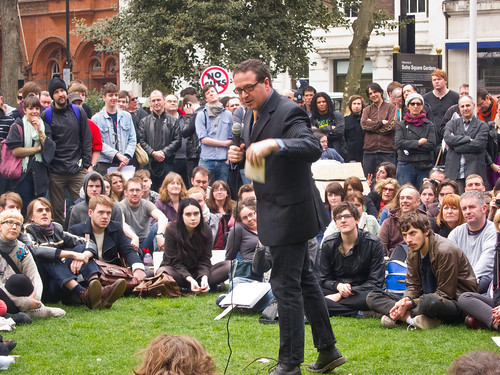 Comedian Mark Thomas headlining at #UkUncut Comedy Sit-In, Soho Square