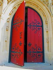 a photo of a church door