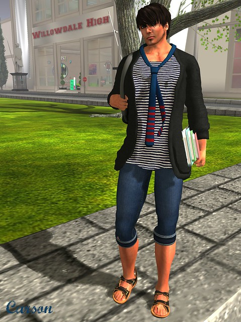 K at C'est la vie - Mesh Summer Cardigan w Marine Tee, Mesh Accent Tie, Hawker's House - Button Fly Capris