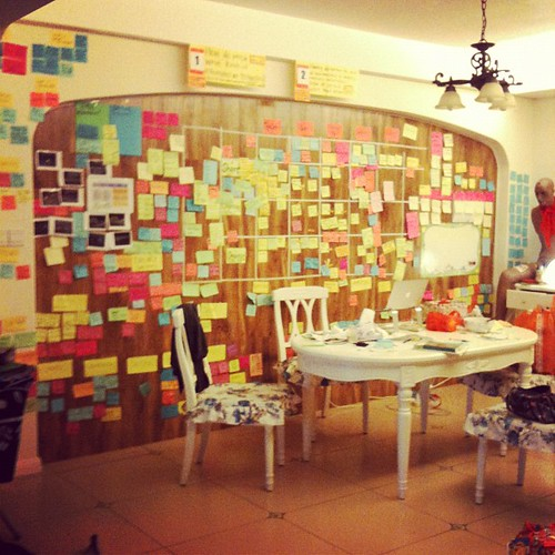 My sticky note wall of research