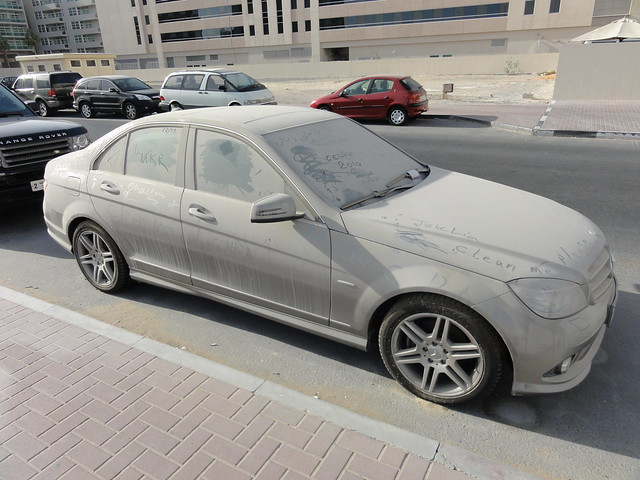 A very dusty car in Dubai