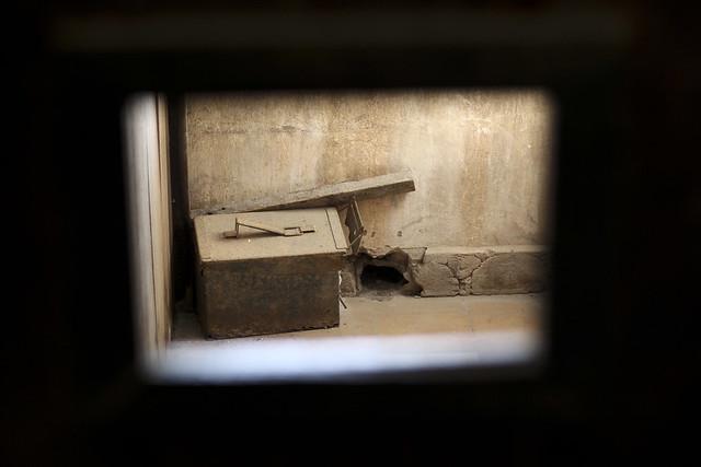 through a cell door