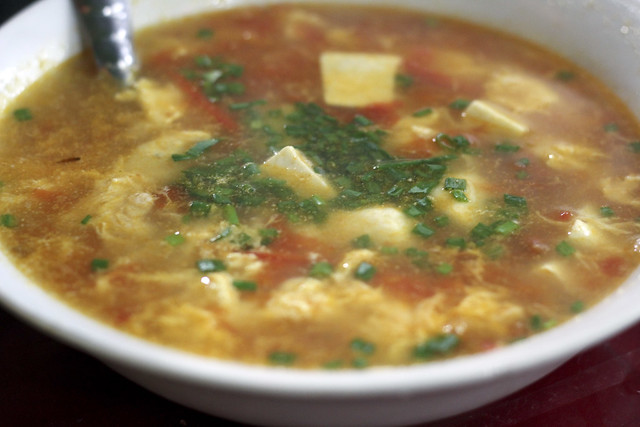 tofu soup with eggs and tomatoes