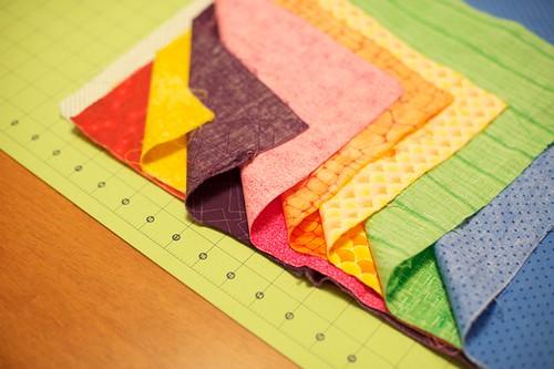 Layering fabric to cut