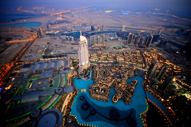 """Dubai Mall"" and ""The Adress"" from the Burj Khalifa"
