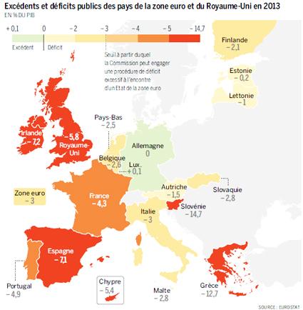14d24 LMonde Geografía del déficit público en Europa