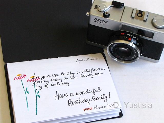 Vintage camera & birthday sentiment