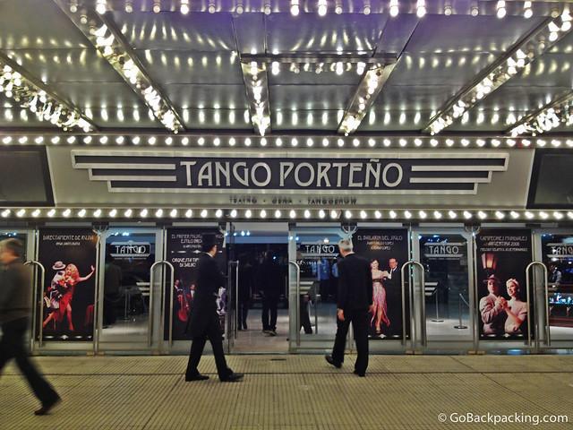 Walking into the Tango Porteno theater