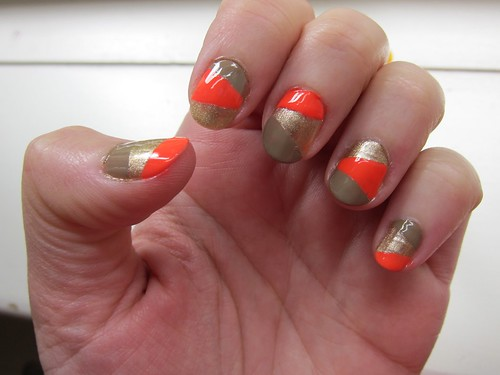 Gold/Taupe/Neon Nails