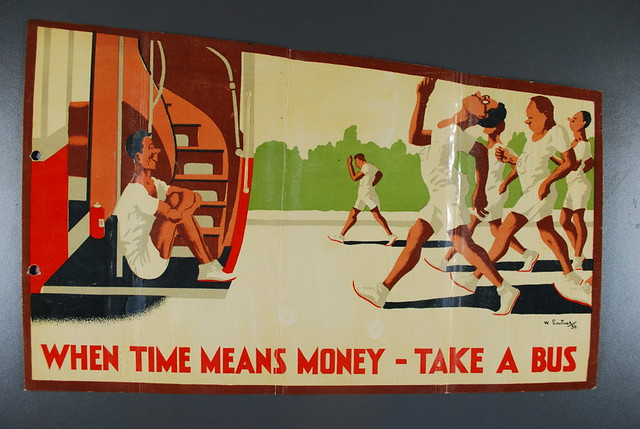 Thirties travel poster featuring runners
