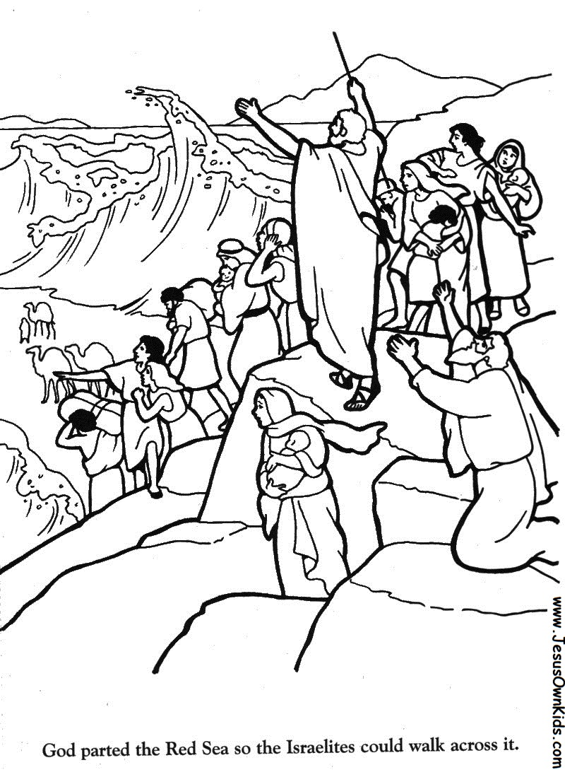 Coloring Sheets Of Moses Crossing Red Sea Coloring Pages