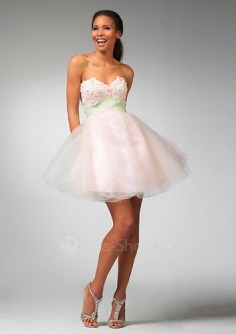 Lace-and-Tulle-Short-Strapless-Sweetheart-Neckline-Wholesale-Pink-2011-Prom-Dress
