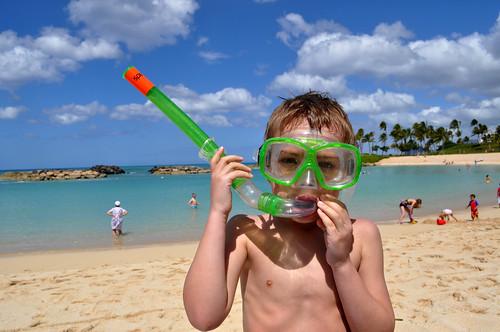 Traveling with Children - Boy on Beach in Snorkel Gear