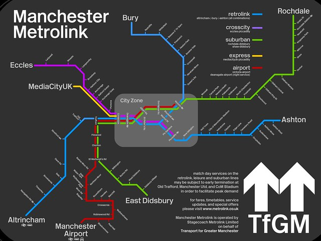 Metrolink in Manchester map