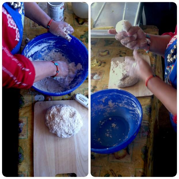 Norma making tortillas