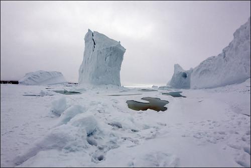 icebergs near camp
