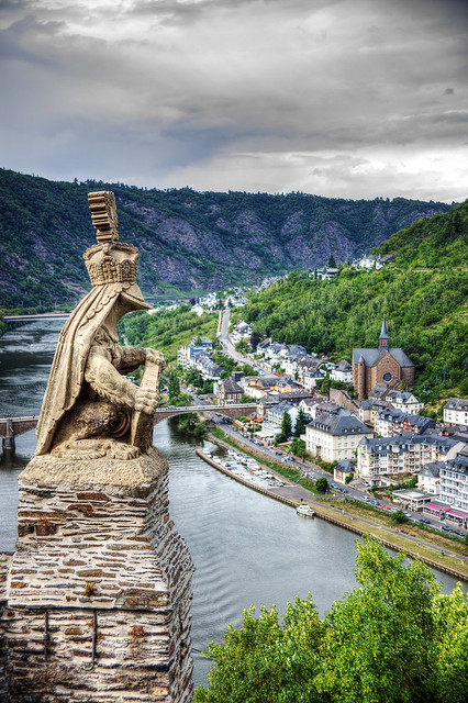 Helmed Lion statue overlooking Cochem and the Moselle River.