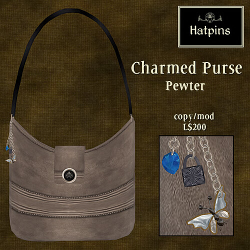 Hatpins - Charmed Purse - Pewter