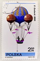 stamp Poland Polska 2.50 zt. zloty timbre Pologne selo bollo Polonia francobollo Marka 2,50 zloty Ballon aerostato Gedard montgolfière rèkōngqì qìqiú