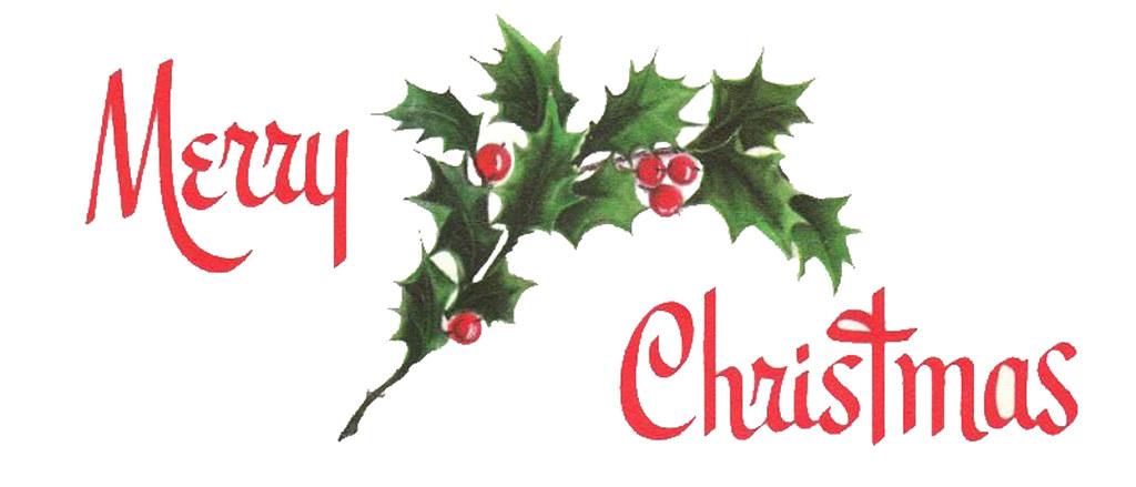 MerryChristmasHorizontalHolly