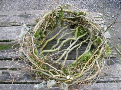 curly willow basket with moss