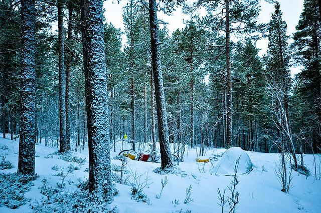 Snow coated camp
