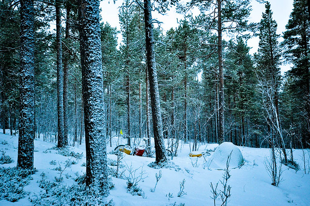 Snow coated camp