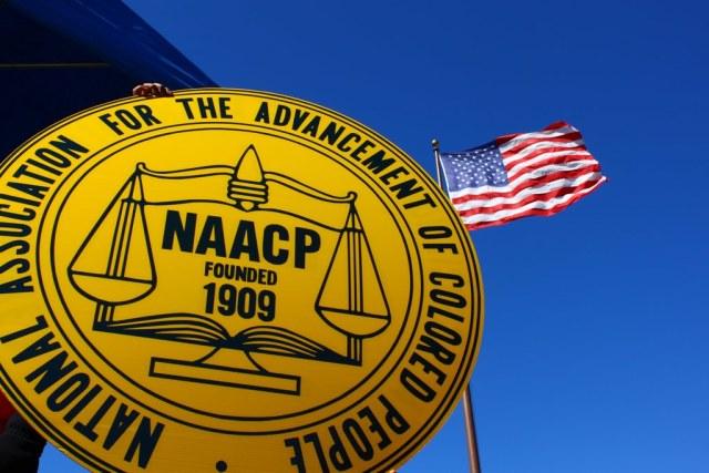 NAACP logo and American Flag