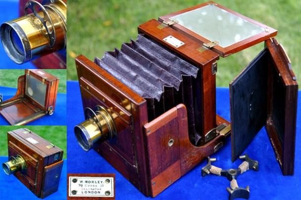 Processo de colódio úmido, wet plate ou ainda tintype - 1860-1875: TAILBOARD WET PLATE CAMERA. W Morley. Islington-Londres, Inglaterra