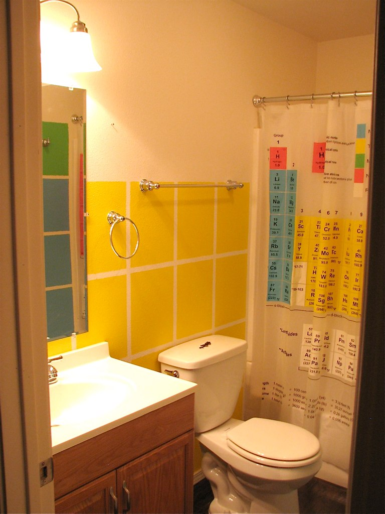 D-block bathroom wall