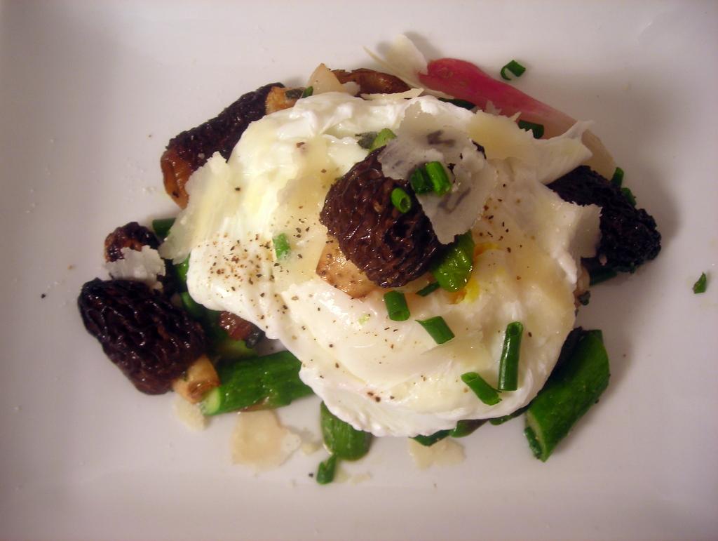Spring vegetables, poached wild turkey egg