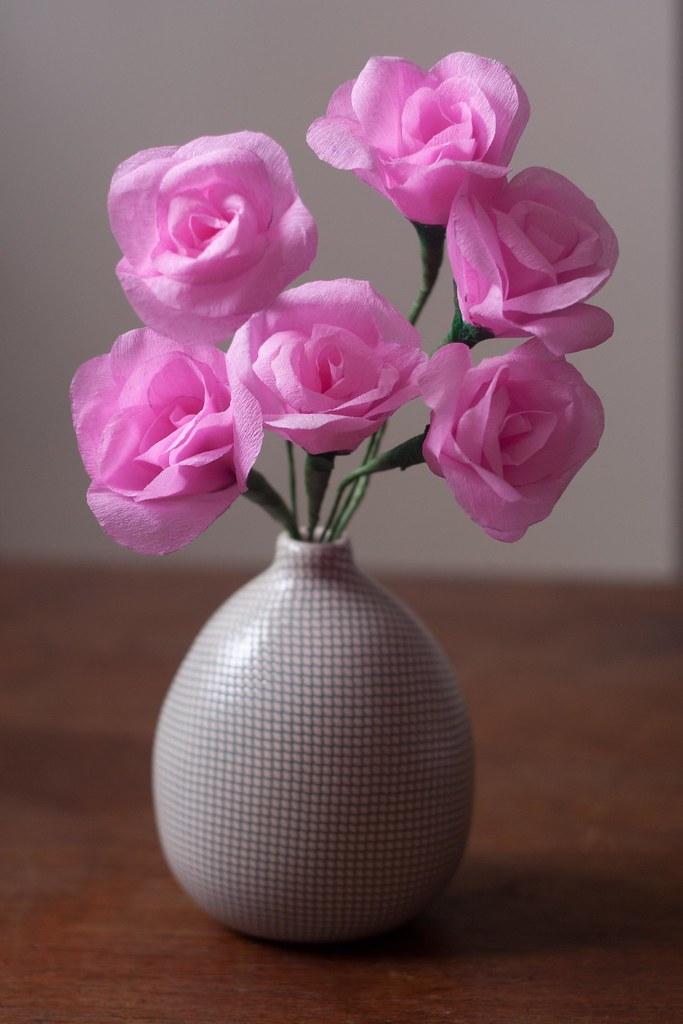 Pink Crepe Paper Roses