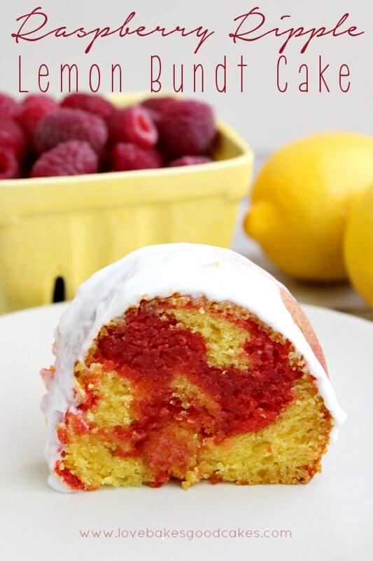 Raspberry Ripple Lemon Bundt Cake - a lemon bundt cake with a fun and yummy red raspberry ribbon layer, topped with a light raspberry glaze! #bundt #cake #lemon #raspberry
