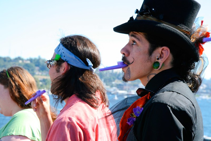 wedding party playing processional on kazoos
