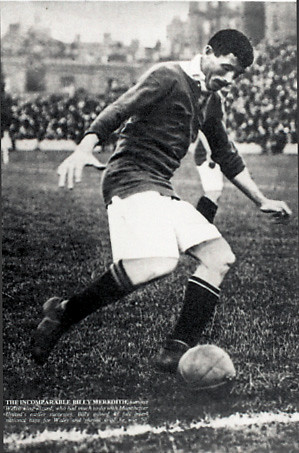 Billy Meredith controlling ball near touchline during a game, n.d.
