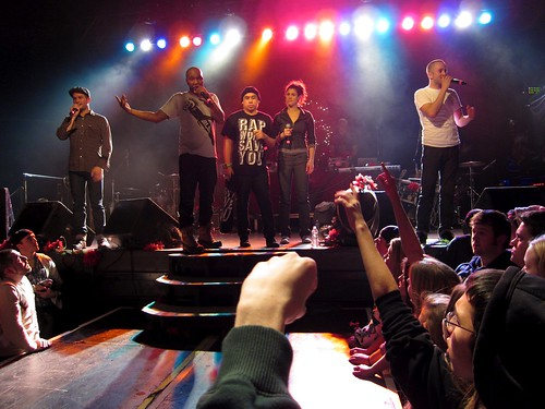The five rappers at the end of the 2010 Doomtree Blowout
