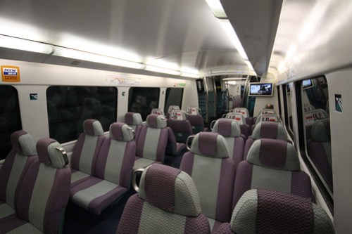 Onboard the Airport Express train