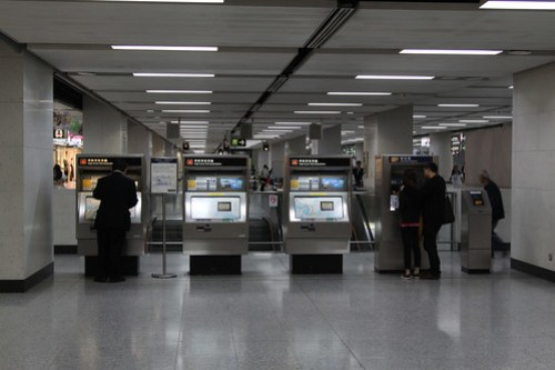 Single Journey Ticket machines, beside Octopus Add Value and Check Value machines, at Hong Kong station