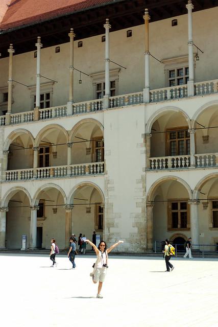 Heather in the courtyard of Wawel Castle, Krakow.