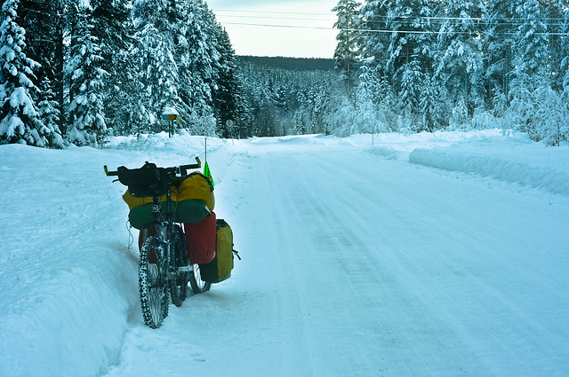 My bike on the snow road