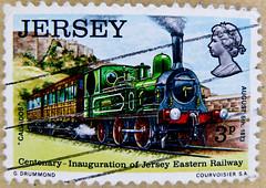 "stamps England GB Jersey 3p postage train ""B1-n2"" Caesarea 1873 railway Great Britain England stamp United Kingdom GB UK stamp timbre poste Angleterre sello Inglaterra francobolli Inghilterra Briefmarken Großbritannien Jersey Eastern Railway 1873"